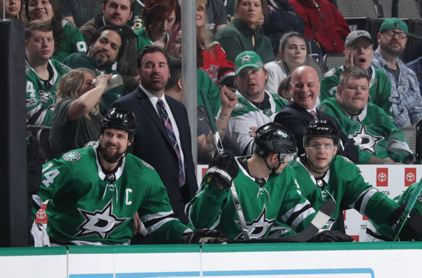 DALLAS, TX - APRIL 2: Jim Montgomery of the Dallas Stars on the bench during a game against the Philadelphia Flyers at the American Airlines Center on April 2, 2019 in Dallas, Texas. (Photo by Glenn James/NHLI via Getty Images)