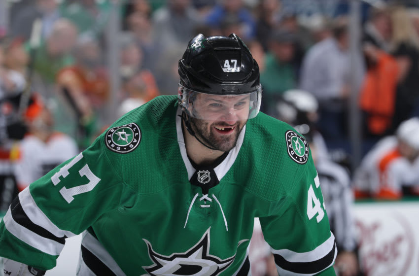 DALLAS, TX - APRIL 2: Alexander Radulov #47 of the Dallas Stars celebrates a goal against the Philadelphia Flyers at the American Airlines Center on April 2, 2019 in Dallas, Texas. (Photo by Glenn James/NHLI via Getty Images)