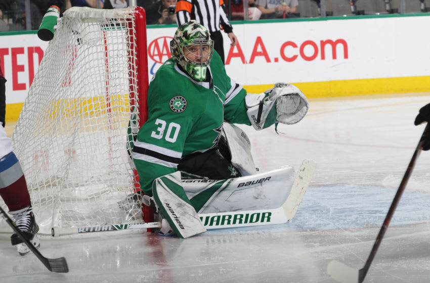 DALLAS, TX - MARCH 7: Ben Bishop #30 of the Dallas Stars tends goal against the Colorado Avalanche at the American Airlines Center on March 7, 2019 in Dallas, Texas. (Photo by Glenn James/NHLI via Getty Images)