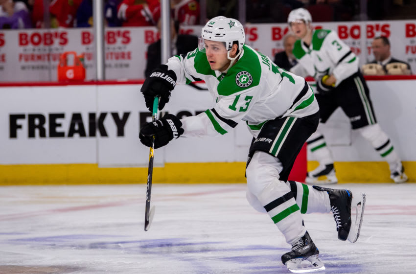 CHICAGO, IL - APRIL 05: Dallas Stars center Mattias Janmark (13) in action during a game between the Dallas Stars and the Chicago Blackhawks on April 5, 2019, at the United Center in Chicago, IL. (Photo by Patrick Gorski/Icon Sportswire via Getty Images)