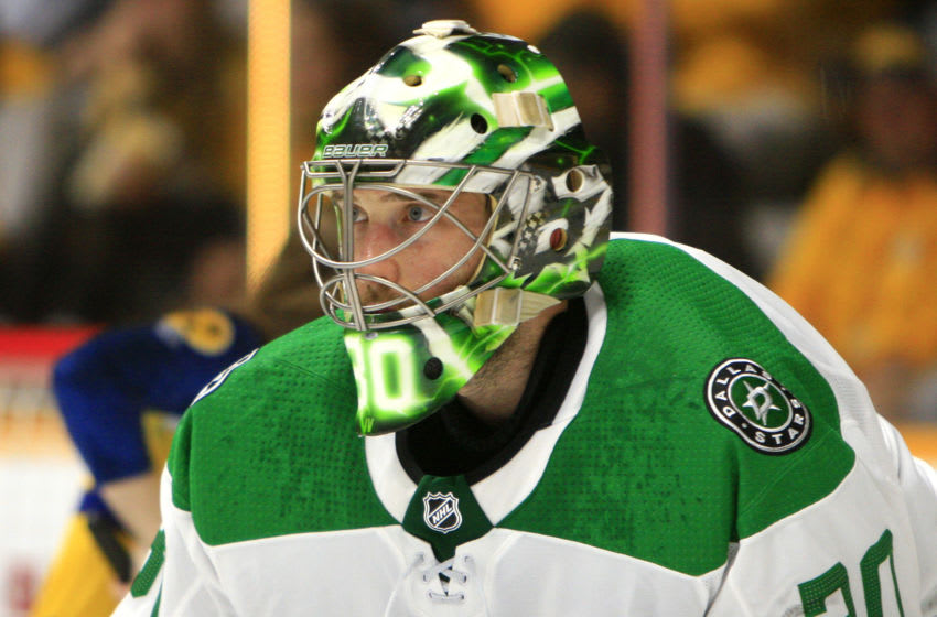 NASHVILLE, TN - APRIL 10: The artwork on the mask of Dallas Stars goalie Ben Bishop (30) is shown during Game One of Round One of the Stanley Cup Playoffs, held on April 10, 2019, at Bridgestone Arena in Nashville, Tennessee. (Photo by Danny Murphy/Icon Sportswire via Getty Images)