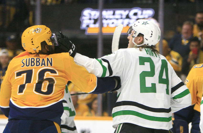 NASHVILLE, TN - APRIL 13: Nashville Predators defenseman P.K. Subban (76) and Dallas Stars center Roope Hintz (24) push each other during Game Two of Round One of the Stanley Cup Playoffs between the Nashville Predators and Dallas Stars, held on April 13, 2019, at Bridgestone Arena in Nashville, Tennessee. (Photo by Danny Murphy/Icon Sportswire via Getty Images)