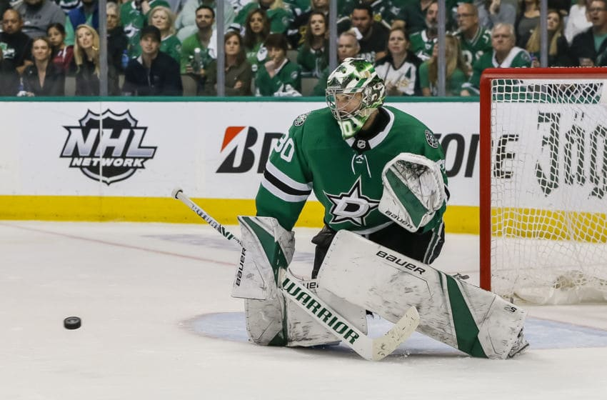 DALLAS, TX - APRIL 22: Dallas Stars goaltender Ben Bishop (30) makes the save against Nashville during the game between the Dallas Stars and the Nashville Predators on April 22, 2019 at the American Airlines Center in Dallas, Texas. (Photo by Matthew Pearce/Icon Sportswire via Getty Images)