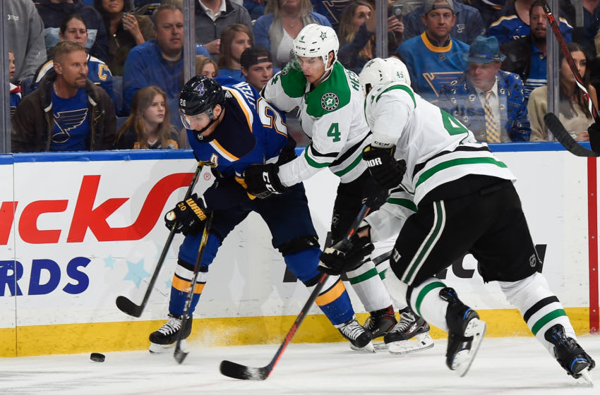 ST. LOUIS, MO - APRIL 27: Miro Heiskanen #4 of the Dallas Stars defends against Alexander Steen #20 of the St. Louis Blues in Game Two of the Western Conference Second Round during the 2019 NHL Stanley Cup Playoffs at Enterprise Center on April 27, 2019 in St. Louis, Missouri. (Photo by Joe Puetz/NHLI via Getty Images)