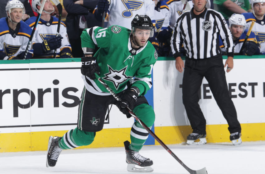 DALLAS, TX - APRIL 29: Jason Dickinson #16 of the Dallas Stars handles the puck against the St. Louis Blues in Game Three of the Western Conference Second Round during the 2019 NHL Stanley Cup Playoffs at the American Airlines Center on April 29, 2019 in Dallas, Texas. (Photo by Glenn James/NHLI via Getty Images)