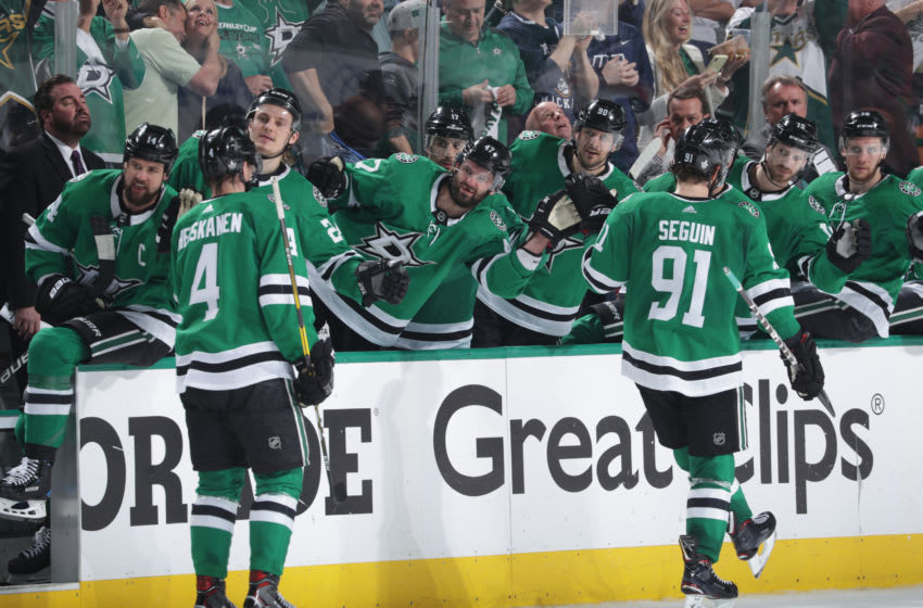 DALLAS, TX - APRIL 29: Miro Heiskanen #4, Tyler Seguin #91 and the Dallas Stars celebrate a goal against the St. Louis Blues in Game Three of the Western Conference Second Round during the 2019 NHL Stanley Cup Playoffs at the American Airlines Center on April 29, 2019 in Dallas, Texas. (Photo by Glenn James/NHLI via Getty Images)