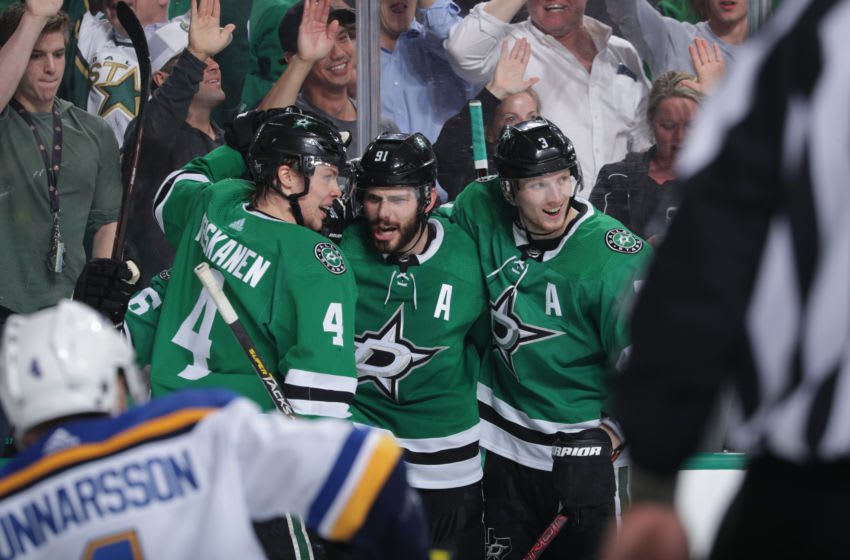 DALLAS, TX - APRIL 29: Tyler Seguin #91, John Klingberg #3, Miro Heiskanen #4 and the Dallas Stars celebrate a goal against the St. Louis Blues in Game Three of the Western Conference Second Round during the 2019 NHL Stanley Cup Playoffs at the American Airlines Center on April 29, 2019 in Dallas, Texas. (Photo by Glenn James/NHLI via Getty Images)