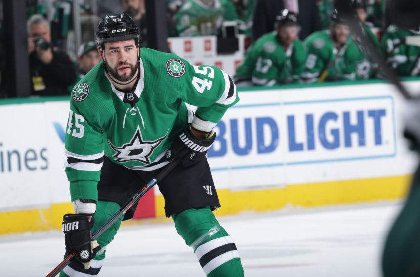 DALLAS, TX - APRIL 6: Roman Polak #45 of the Dallas Stars skates against the Minnesota Wild at the American Airlines Center on April 6, 2019 in Dallas, Texas. (Photo by Glenn James/NHLI via Getty Images)