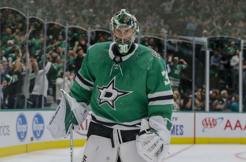 DALLAS, TX - OCTOBER 03: Dallas Stars goaltender Ben Bishop (30) skates during a timeout during the game between the Dallas Stars and the Boston Bruins on October 03, 2019 at American Airlines Center in Dallas, Texas. (Photo by Matthew Pearce/Icon Sportswire via Getty Images)