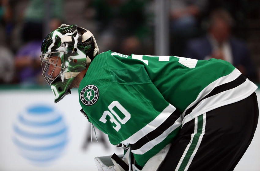 DALLAS, TEXAS - SEPTEMBER 16: Ben Bishop #30 of the Dallas Stars in goal in the second period against the St. Louis Blues during a NHL preseason game at American Airlines Center on September 16, 2019 in Dallas, Texas. (Photo by Ronald Martinez/Getty Images)