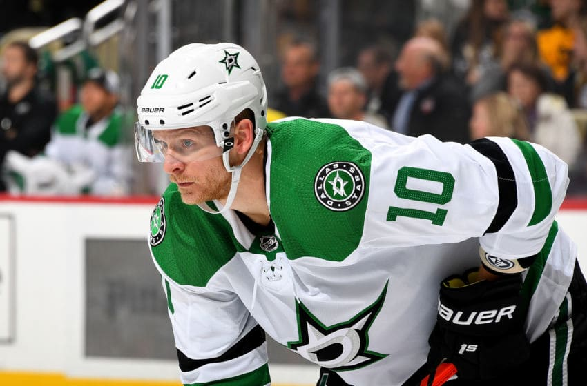 PITTSBURGH, PA - OCTOBER 18: Corey Perry #10 of the Dallas Stars looks on against the Pittsburgh Penguins at PPG PAINTS Arena on October 18, 2019 in Pittsburgh, Pennsylvania. (Photo by Joe Sargent/NHLI via Getty Images)