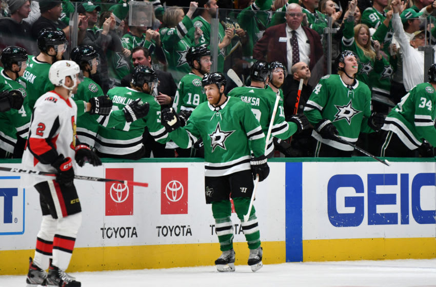 DALLAS, TX - OCTOBER 21: Joe Pavelski #16 of the Dallas Stars celebrates a power play goal against the Ottawa Senators at the American Airlines Center on October 21, 2019 in Dallas, Texas. (Photo by Glenn James/NHLI via Getty Images)