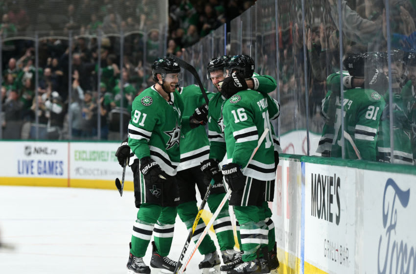 DALLAS, TX - OCTOBER 29: Tyler Seguin #91, Alexander Radulov #47, Joe Pavelski #16 and the Dallas Stars celebrate a goal against the Minnesota Wild at the American Airlines Center on October 29, 2019 in Dallas, Texas. (Photo by Glenn James/NHLI via Getty Images)