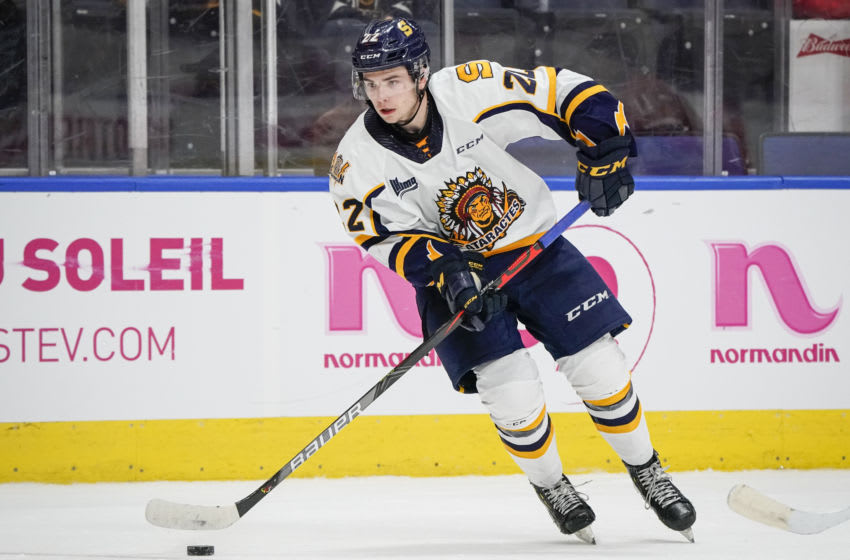 QUEBEC CITY, QC - OCTOBER 26: Mavrik Bourque #22 of the Shawinigan Cataractes skates during his QMJHL hockey game at the Videotron Center on October 26, 2019 in Quebec City, Quebec, Canada. (Photo by Mathieu Belanger/Getty Images)