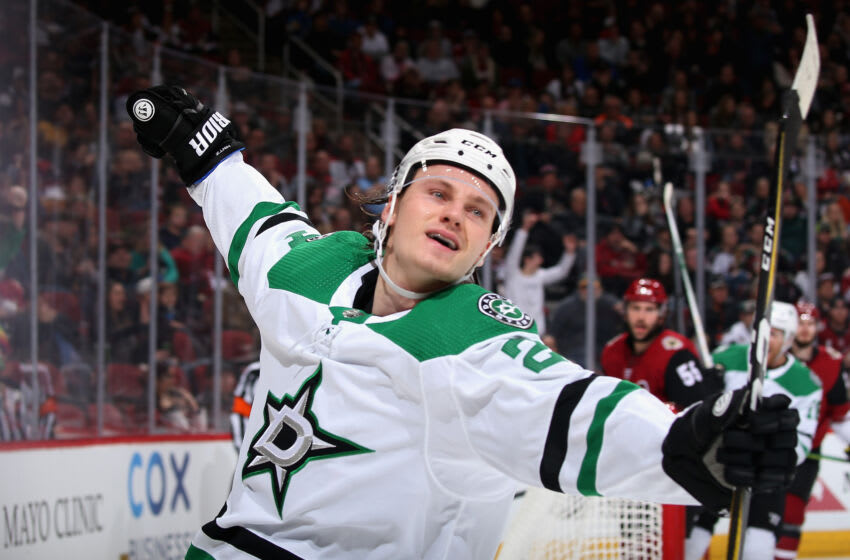 GLENDALE, ARIZONA - DECEMBER 29: Roope Hintz #24 of the Dallas Stars celebrates after scoring a goal against the Arizona Coyotes during the third period of the NHL game at Gila River Arena on December 29, 2019 in Glendale, Arizona. The Stars defeated the Coyotes 4-2. (Photo by Christian Petersen/Getty Images)