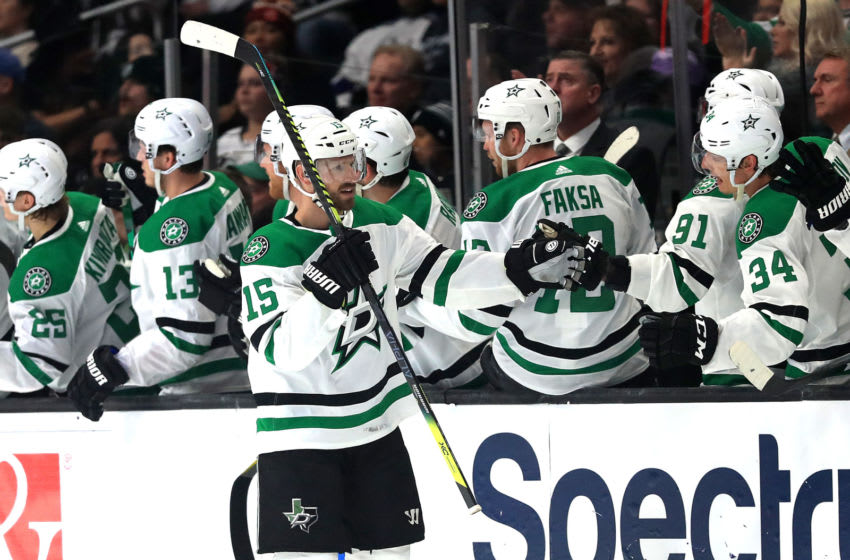 LOS ANGELES, CALIFORNIA - JANUARY 08: Blake Comeau #15 of the Dallas Stars is congratulated at the bench after scoring a goal during the second period of a game against the Los Angeles Kings at Staples Center on January 08, 2020 in Los Angeles, California. (Photo by Sean M. Haffey/Getty Images)