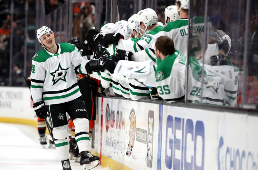ANAHEIM, CALIFORNIA - JANUARY 09: Roope Hintz #24 of the Dallas Stars is congratulated at the bench after scoring an empty net goal during the third period of a game against the Anaheim Ducks at Honda Center on January 09, 2020 in Anaheim, California. (Photo by Sean M. Haffey/Getty Images)
