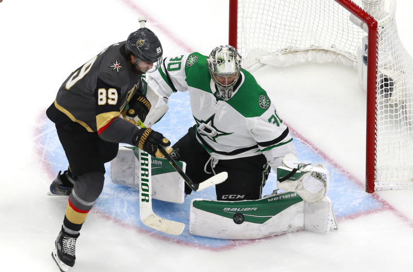 EDMONTON, ALBERTA - AUGUST 03: Ben Bishop #30 of the Dallas Stars stops a shot by Alex Tuch #89 of the Vegas Golden Knights in the third period in a Western Conference Round Robin game during the 2020 NHL Stanley Cup Playoff at Rogers Place on August 03, 2020 in Edmonton, Alberta. (Photo by Jeff Vinnick/Getty Images)