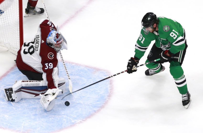 EDMONTON, ALBERTA - AUGUST 05: Pavel Francouz #39 of the Colorado Avalanche stops a shot by Tyler Seguin #91 of the Dallas Stars in the second period in a Western Conference Round Robin game during the 2020 NHL Stanley Cup Playoff at Rogers Place on August 05, 2020 in Edmonton, Alberta. (Photo by Jeff Vinnick/Getty Images)