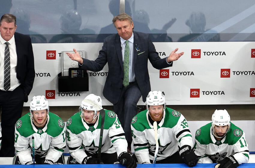 EDMONTON, ALBERTA - AUGUST 31: Head coach Rick Bowness of the Dallas Stars reacts after Joe Pavelski #16 is called for a 10-minute misconduct against the Colorado Avalanche during the third period in Game Five of the Western Conference Second Round during the 2020 NHL Stanley Cup Playoffs at Rogers Place on August 31, 2020 in Edmonton, Alberta, Canada. (Photo by Bruce Bennett/Getty Images)