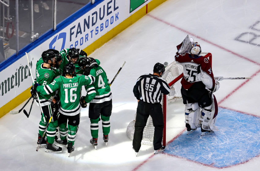 EDMONTON, ALBERTA - SEPTEMBER 02: Miro Heiskanen #4 of the Dallas Stars is congratulated by his teammates after scoring a goal past Michael Hutchinson #35 of the Colorado Avalanche during the first period in Game Six of the Western Conference Second Round during the 2020 NHL Stanley Cup Playoffs at Rogers Place on September 02, 2020 in Edmonton, Alberta, Canada. (Photo by Bruce Bennett/Getty Images)
