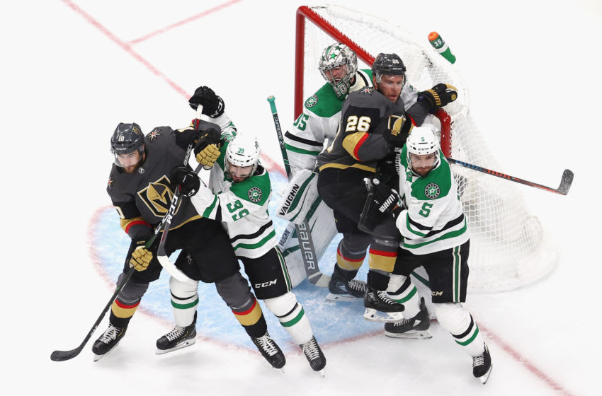 EDMONTON, ALBERTA - SEPTEMBER 08: The Dallas Stars defend against the Vegas Golden Knights in Game Two of the Western Conference Final during the 2020 NHL Stanley Cup Playoffs at Rogers Place on September 08, 2020 in Edmonton, Alberta, Canada. (Photo by Bruce Bennett/Getty Images)