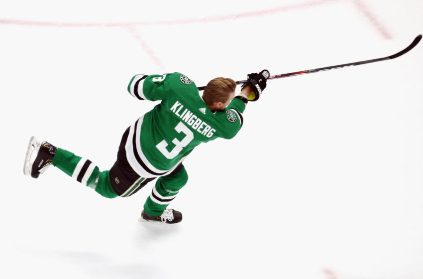 EDMONTON, ALBERTA - SEPTEMBER 12: John Klingberg #3 of the Dallas Stars skates in warm-ups prior to the game against the Vegas Golden Knights in Game Four of the Western Conference Final during the 2020 NHL Stanley Cup Playoffs at Rogers Place on September 12, 2020 in Edmonton, Alberta, Canada. (Photo by Bruce Bennett/Getty Images)