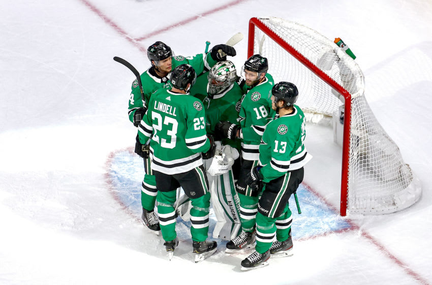 EDMONTON, ALBERTA - SEPTEMBER 12: Anton Khudobin #35 of the Dallas Stars celebrates with his teammates after their 2-1 victory against the Vegas Golden Knights in Game Four of the Western Conference Final during the 2020 NHL Stanley Cup Playoffs at Rogers Place on September 12, 2020 in Edmonton, Alberta, Canada. (Photo by Bruce Bennett/Getty Images)