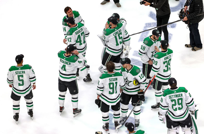 EDMONTON, ALBERTA - SEPTEMBER 14: The Dallas Stars celebrate their 3-2 overtime victory against the Vegas Golden Knights in Game Five to win the Western Conference Final during the 2020 NHL Stanley Cup Playoffs at Rogers Place on September 14, 2020 in Edmonton, Alberta, Canada. (Photo by Bruce Bennett/Getty Images)
