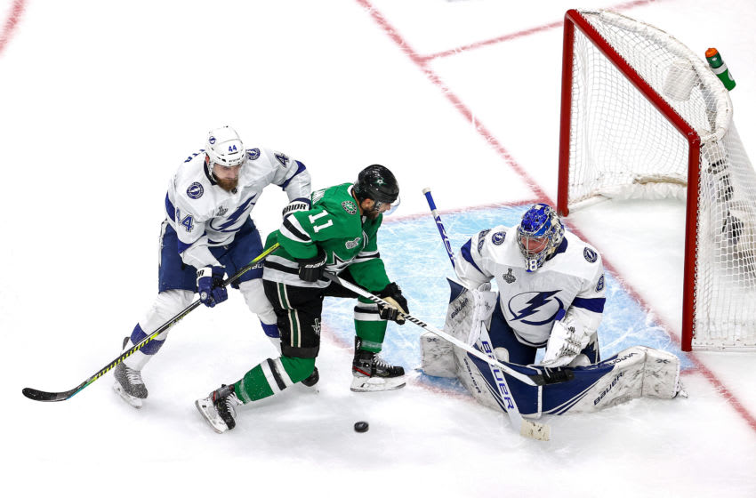 EDMONTON, ALBERTA - SEPTEMBER 23: Andrei Vasilevskiy #88 of the Tampa Bay Lightning makes the save against Andrew Cogliano #11 of the Dallas Stars as Jan Rutta #44 defends during the first period in Game Three of the 2020 NHL Stanley Cup Final at Rogers Place on September 23, 2020 in Edmonton, Alberta, Canada. (Photo by Bruce Bennett/Getty Images)