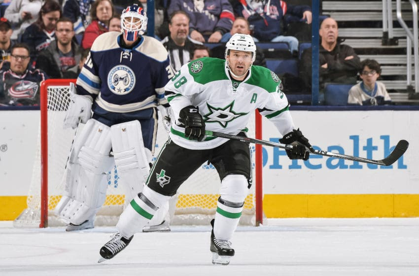 COLUMBUS, OH - DECEMBER 29: Vernon Fiddler #38 of the Dallas Stars against the Columbus Blue Jackets on December 29, 2015 at Nationwide Arena in Columbus, Ohio. (Photo by Jamie Sabau/NHLI via Getty Images)