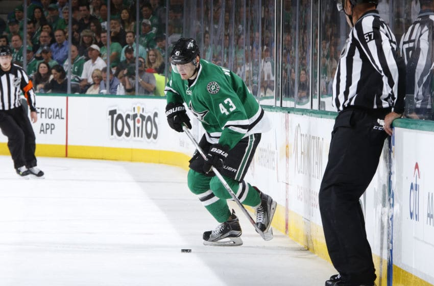 DALLAS, TX - APRIL 14: Valeri Nichushkin #43 of the Dallas Stars handles the puck against the Minnesota Wild in Game One of the Western Conference Quarterfinals during the 2016 NHL Stanley Cup Playoffs at the American Airlines Center on April 14, 2016 in Dallas, Texas. (Photo by Glenn James/NHLI via Getty Images)