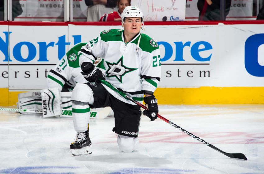 CHICAGO, IL - MARCH 23: Jiri Hudler #22 of the Dallas Stars warms up prior to the game against the Chicago Blackhawks at the United Center on March 23, 2017 in Chicago, Illinois. The Chicago Blackhawks defeated the Dallas Stars 3-2. (Photo by Bill Smith/NHLI via Getty Images)