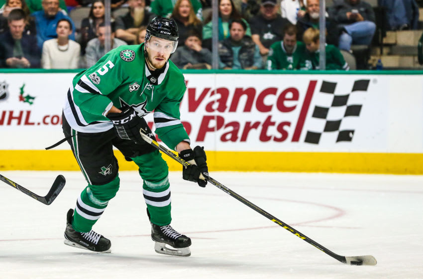 DALLAS, TX - NOVEMBER 18: Dallas Stars defenseman Jamie Oleksiak (5) skates up the ice during the game between the Dallas Stars and the Edmonton Oilers on November 18, 2017 at the American Airlines Center in Dallas, Texas. Dallas defeats Edmonton 6-3.(Photo by Matthew Pearce/Icon Sportswire via Getty Images)