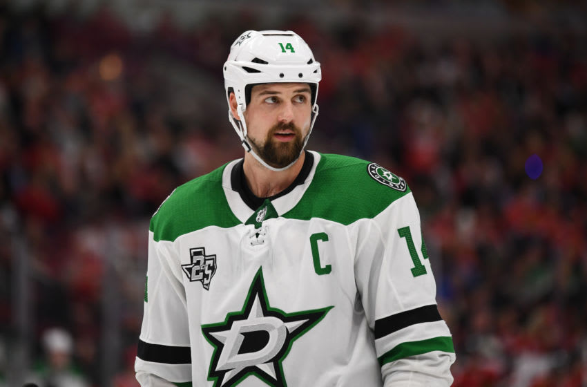 CHICAGO, IL - NOVEMBER 30: Dallas Stars left wing Jamie Benn (14) looks on during a game between the Chicago Blackhawks and the Dallas Stars on November 30, 2017, at the United Center in Chicago, IL. (Photo by Patrick Gorski/Icon Sportswire via Getty Images)
