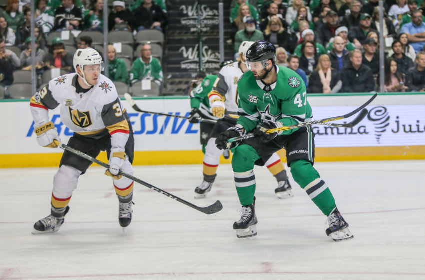 DALLAS, TX - DECEMBER 09: Vegas Golden Knights Defenceman Brayden McNabb (3) battles for the puck with Dallas Stars Right Wing Alexander Radulov (47) during the game between the Dallas Stars and Vegas Golden Knights on December 9, 2017 at the American Airlines Center in Dallas, TX. (Photo by George Walker/Icon Sportswire via Getty Images)