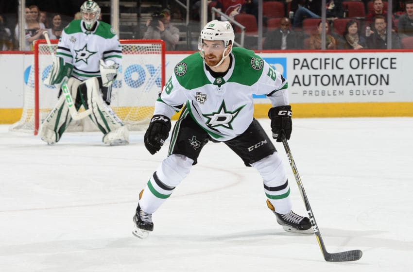 GLENDALE, AZ - FEBRUARY 01: Stephen Johns #28 of the Dallas Stars skates back into his own zone against the Arizona Coyotes at Gila River Arena on February 1, 2018 in Glendale, Arizona. (Photo by Norm Hall/NHLI via Getty Images)
