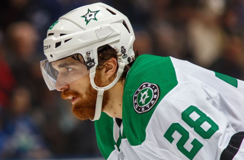 TORONTO, ON - MARCH 14: Stephen Johns #28 of the Dallas Stars looks on against the Toronto Maple Leafs during the first period at the Air Canada Centre on March 14, 2018 in Toronto, Ontario, Canada. (Photo by Kevin Sousa/NHLI via Getty Images)