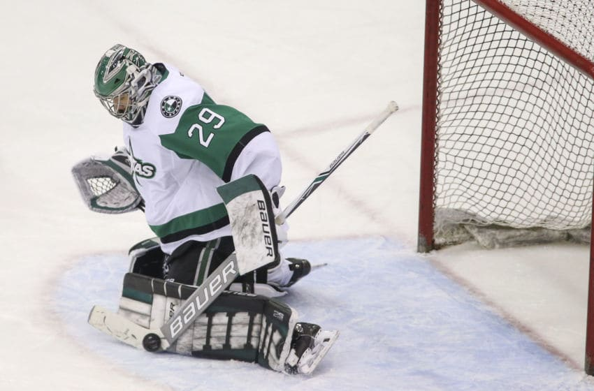 TUCSON, AZ - MAY 04: Texas Stars goaltender Mike McKenna (29) blocks a Tucson Roadrunners shot with hs stick during a hockey game between the Texas Stars and Tuscon Roadrunners on May 04, 2018, at Tucson Convention Center in Tucson, AZ. (Photo by Jacob Snow/Icon Sportswire via Getty Images)