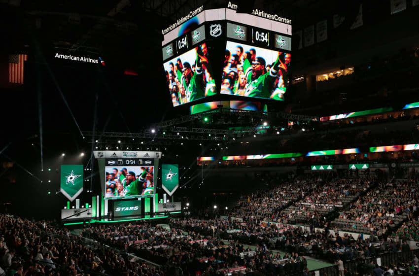 DALLAS, TX - JUNE 22: Dallas Stars fans react before Ty Dellandrea was selected thirteenth overall by the Dallas Stars during the first round of the 2018 NHL Draft at American Airlines Center on June 22, 2018 in Dallas, Texas. (Photo by Glenn James/NHLI via Getty Images)