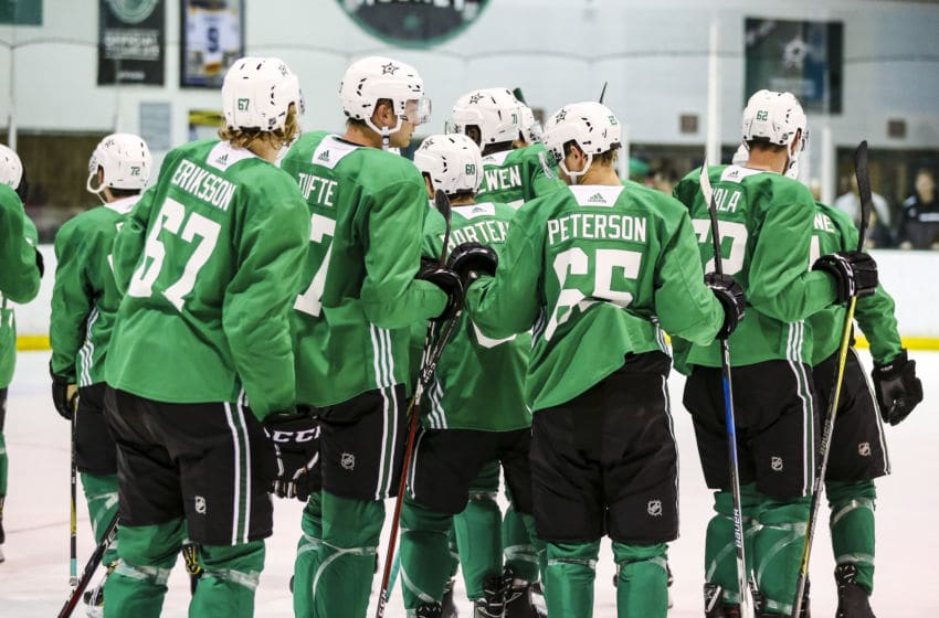 FRISCO, TX - JUNE 29: Rookies and prospects go through hockey drills during the Dallas Stars Development Camp on June 29, 2018 at the Dr. Pepper Stars Center in Frisco, Texas. (Photo by Matthew Pearce/Icon Sportswire via Getty Images)