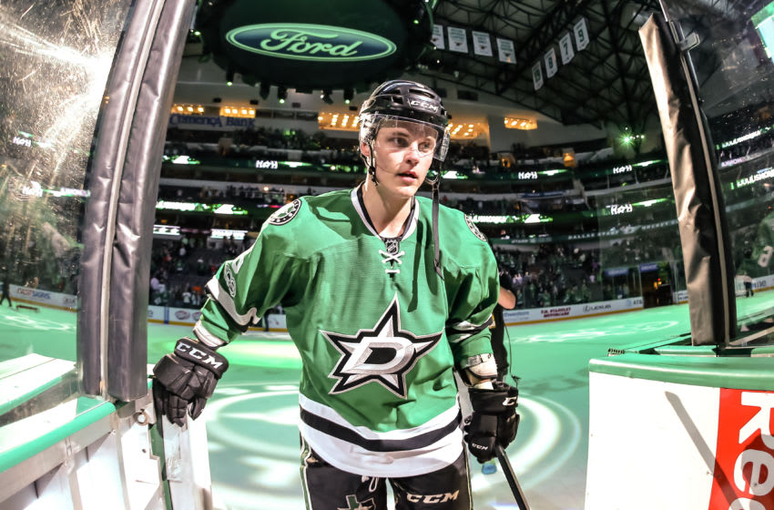 DALLAS, TX - APRIL 04: Dallas Stars defenseman Julius Honka (6) is awarded the first star of the game after scoring the overtime goal to win the game between the Dallas Stars and the Arizona Coyotes on April 04, 2017 at the American Airlines Center in Dallas, Texas. Dallas defeats Arizona 3-2 in overtime. (Photo by Matthew Pearce/Icon Sportswire via Getty Images)