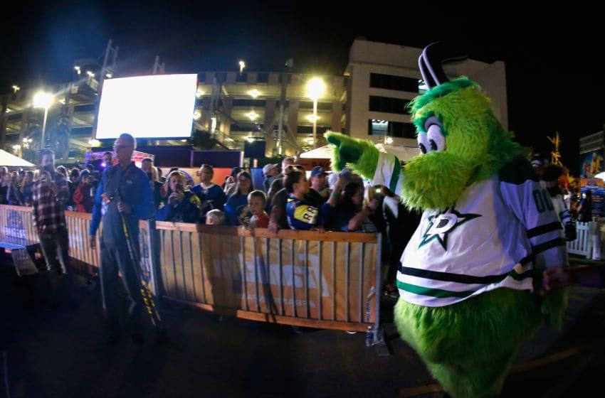 TAMPA, FL - JANUARY 26: Victor E. Green, mascot for the Dallas Stars greets fans during the PreGame