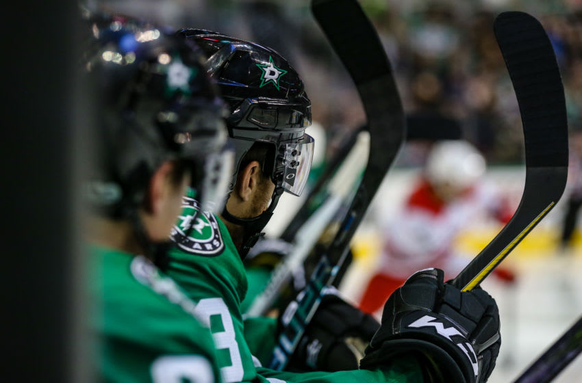 DALLAS, TX - OCTOBER 21: Dallas Stars defenseman Stephen Johns (28) and his teammates sit on the bench during the game between the Dallas Stars and the Carolina Hurricanes on October 21, 2017 at the American Airlines Center in Dallas Texas. Dallas defeats Carolina 4-3. (Photo by Matthew Pearce/Icon Sportswire via Getty Images)