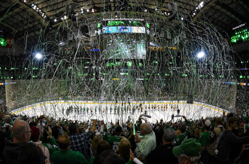 Apr 22, 2019; Dallas, TX, USA; The Dallas Stars fans celebrate the win over the Nashville Predators during the overtime period in game six of the first round of the 2019 Stanley Cup Playoffs at American Airlines Center. Mandatory Credit: Jerome Miron-USA TODAY Sports