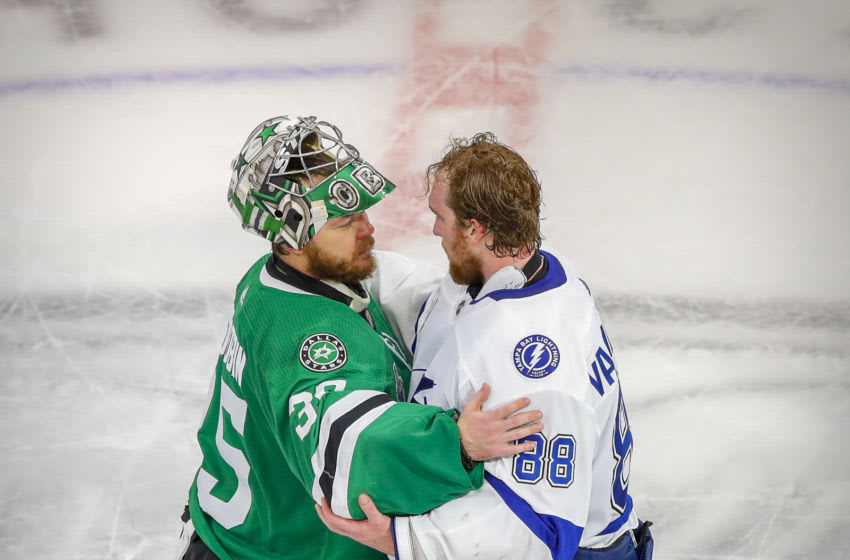 Sep 28, 2020; Edmonton, Alberta, CAN; Dallas Stars goaltender Anton Khudobin (35) and Tampa Bay Lightning goaltender Andrei Vasilevskiy (88) shake hands after winning game six of the 2020 Stanley Cup Final against the Dallas Stars at Rogers Place. Mandatory Credit: Perry Nelson-USA TODAY Sports