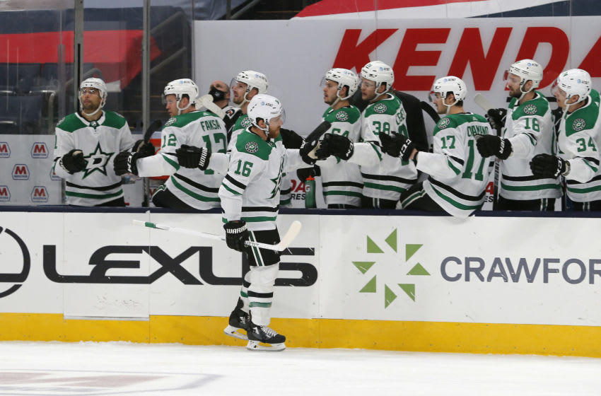 Feb 2, 2021; Columbus, Ohio, USA; Dallas Stars center Joe Pavelski (16) celebrates a goal against the Columbus Blue Jackets during the first period at Nationwide Arena. Mandatory Credit: Russell LaBounty-USA TODAY Sports