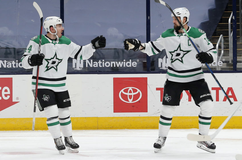 Feb 2, 2021; Columbus, Ohio, USA; Dallas Stars left wing Jamie Benn (14) celebrates a goal against the Columbus Blue Jackets during the second period at Nationwide Arena. Mandatory Credit: Russell LaBounty-USA TODAY Sports