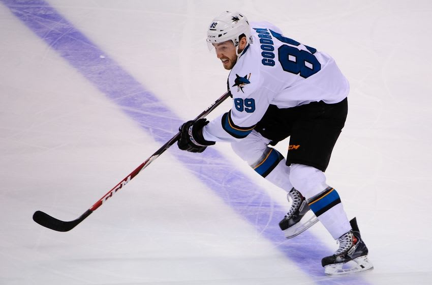 Mar 3, 2015; Vancouver, British Columbia, CAN; San Jose Sharks forward Barclay Goodrow (89) skates against the Vancouver Canucks during the third period at Rogers Arena. The San Jose Sharks won 6-2. Mandatory Credit: Anne-Marie Sorvin-USA TODAY Sports