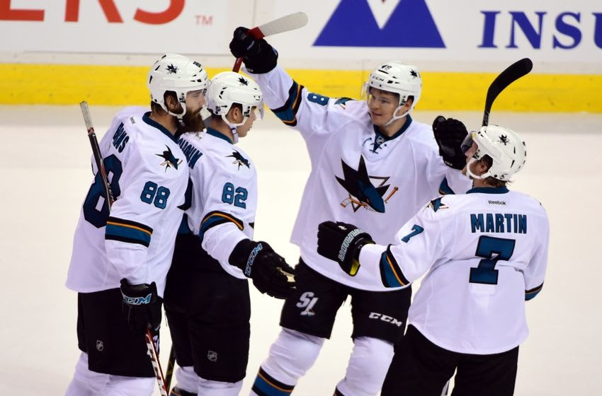 Sep 22, 2015; Vancouver, British Columbia, CAN; San Jose Sharks forward Nikolay Goldobin (82) celebrates scoring against the Vancouver Canucks during the third period at Rogers Arena. The San Jose Sharks won 4-0. Credit: Anne-Marie Sorvin-USA TODAY Sports